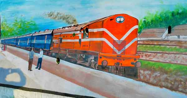 रेलवे की दीवार पर अंकित एक खूबसूरत पेंटिंग